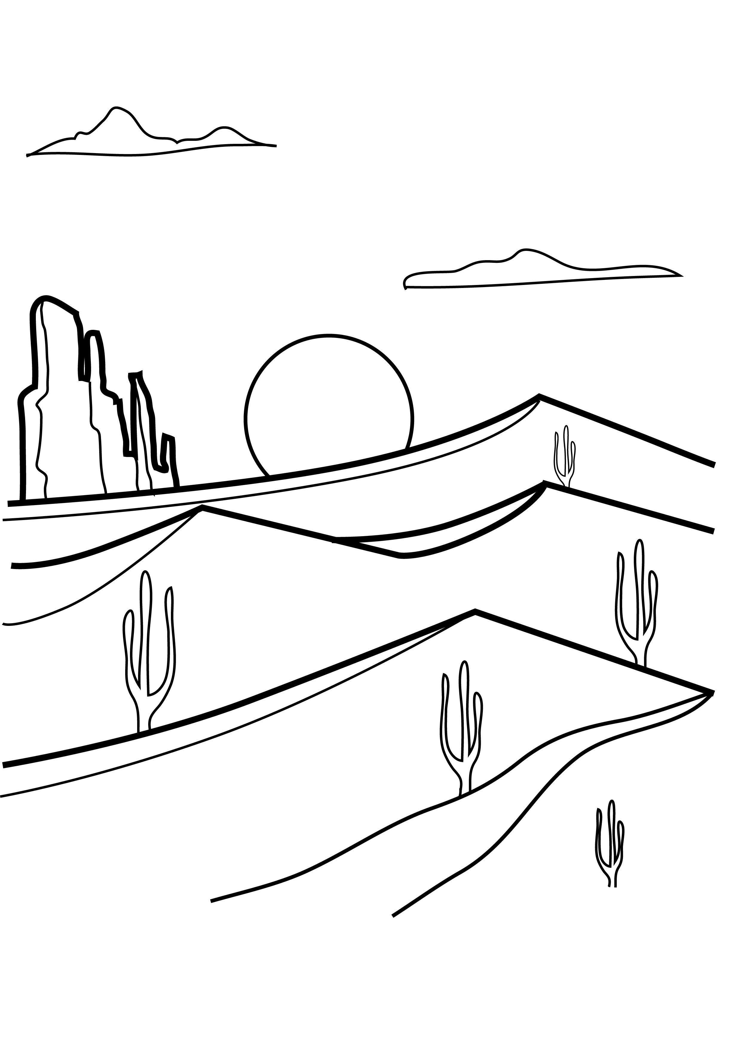 Desert Coloring Worksheet