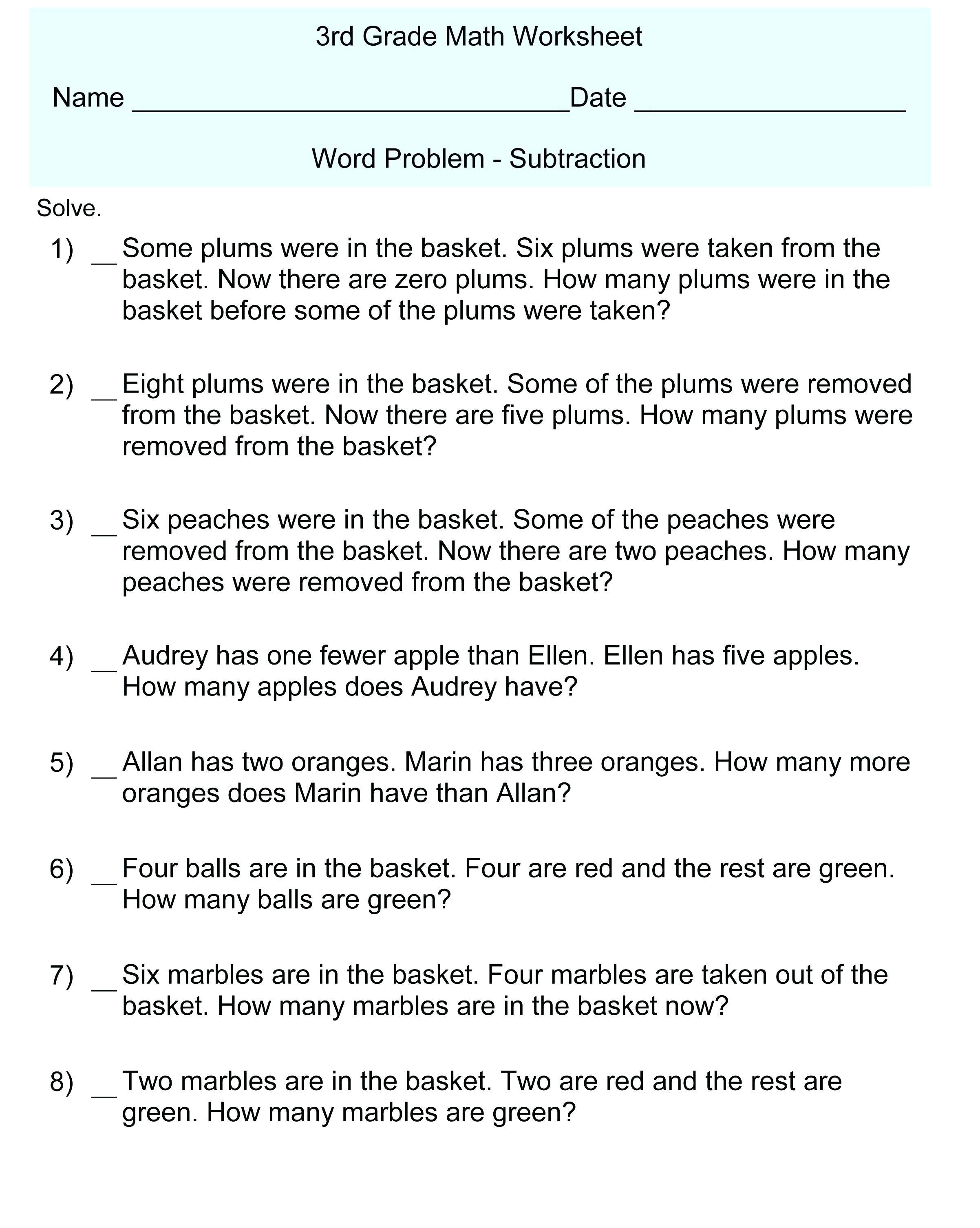 Math Worksheet 3rd Grade Printable