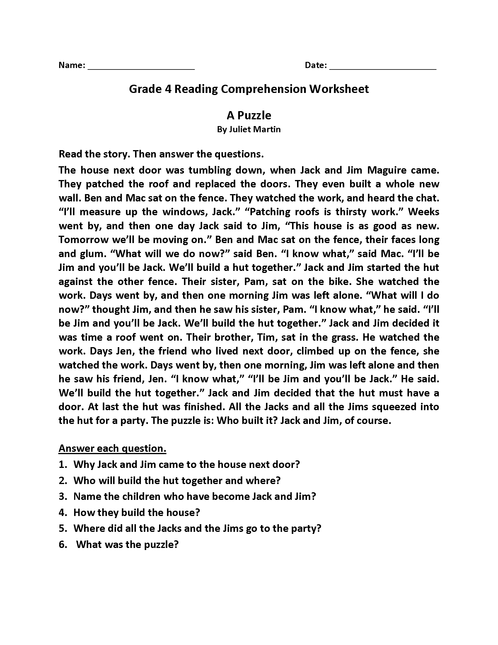 Bible Worksheet For 4th Grade