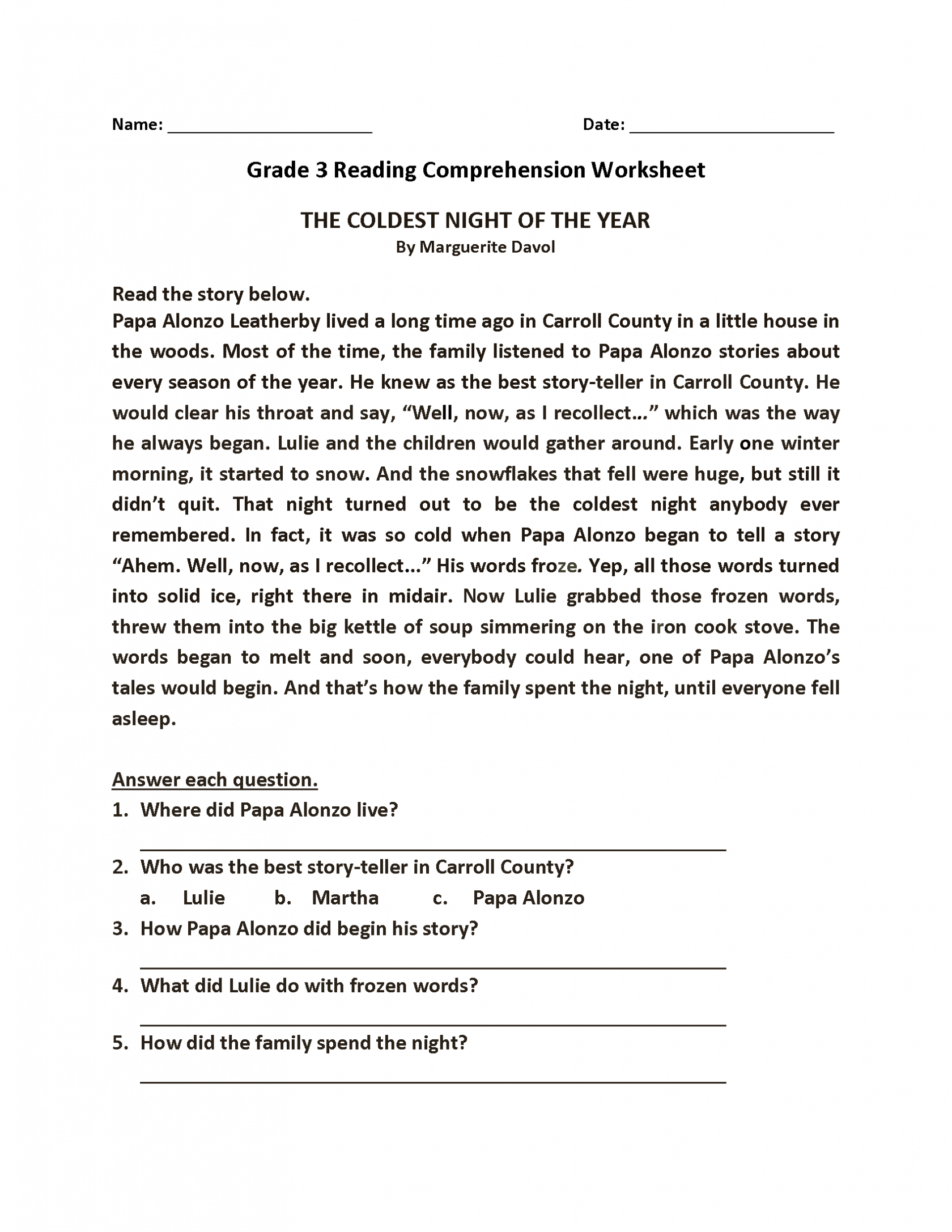 Flower Comprehension Worksheet