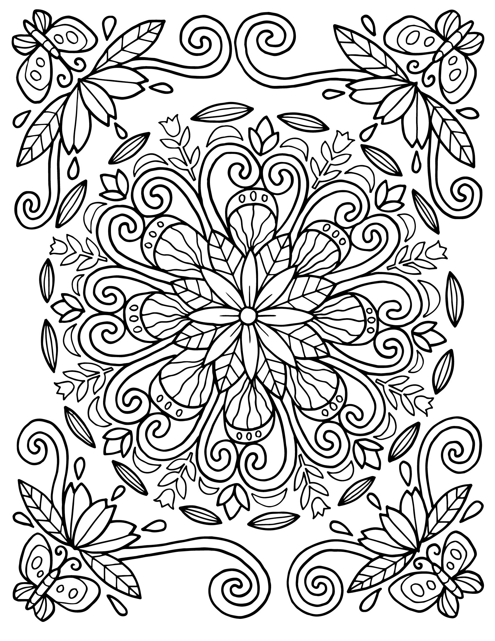 Floral Coloring Pages For Adults Best Coloring Pages For Kids