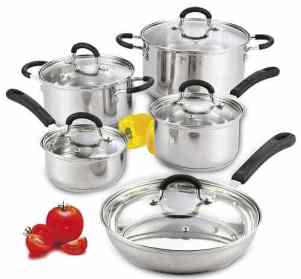 Cook N Home 10 Piece Stainless Steel Cookware Set