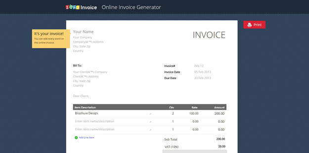 Best Invoice Generating Tools 2017   BestDevList Zoho is a popular business management application that provides a free  invoice generating service to its users  all you have to fill the fields  available in