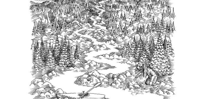 "flowanastasia - ""River Flows"" cover art by illustrator Vytautas Bikauskas"