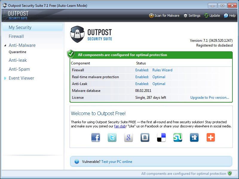 interface outpost antivirus