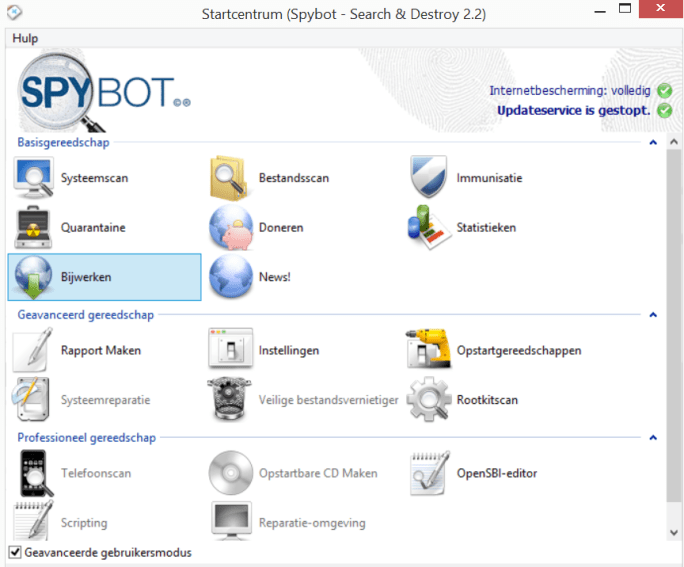 spybot sereacht and destroy control panel