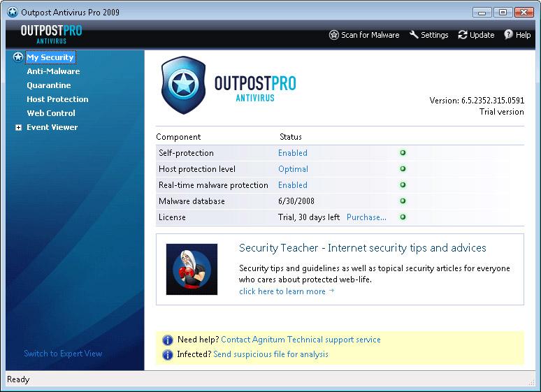 controlpanel antivirus outpost pro