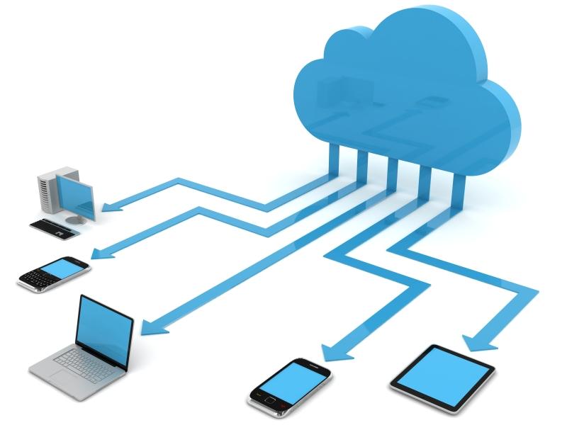 wolk verbonden met mulitmedia apparaten
