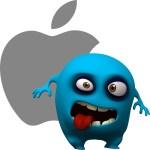apple met blauw gevaarlijke popetje