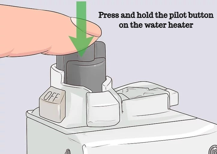 Press and hold the pilot button on the water heater