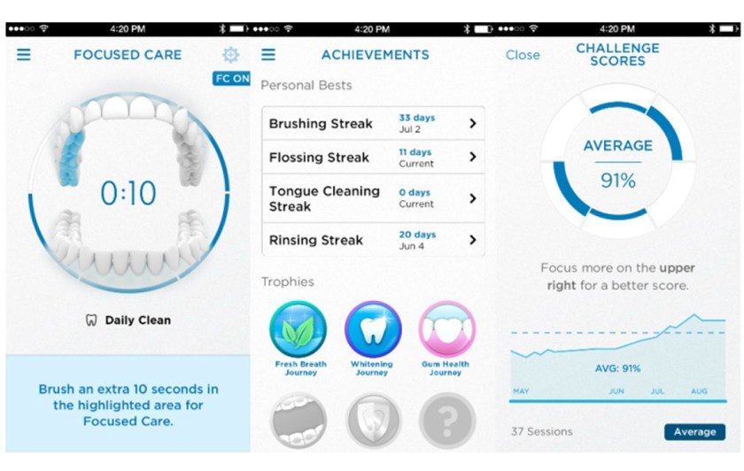 Oral-B APP interface of data interaction on smart phone