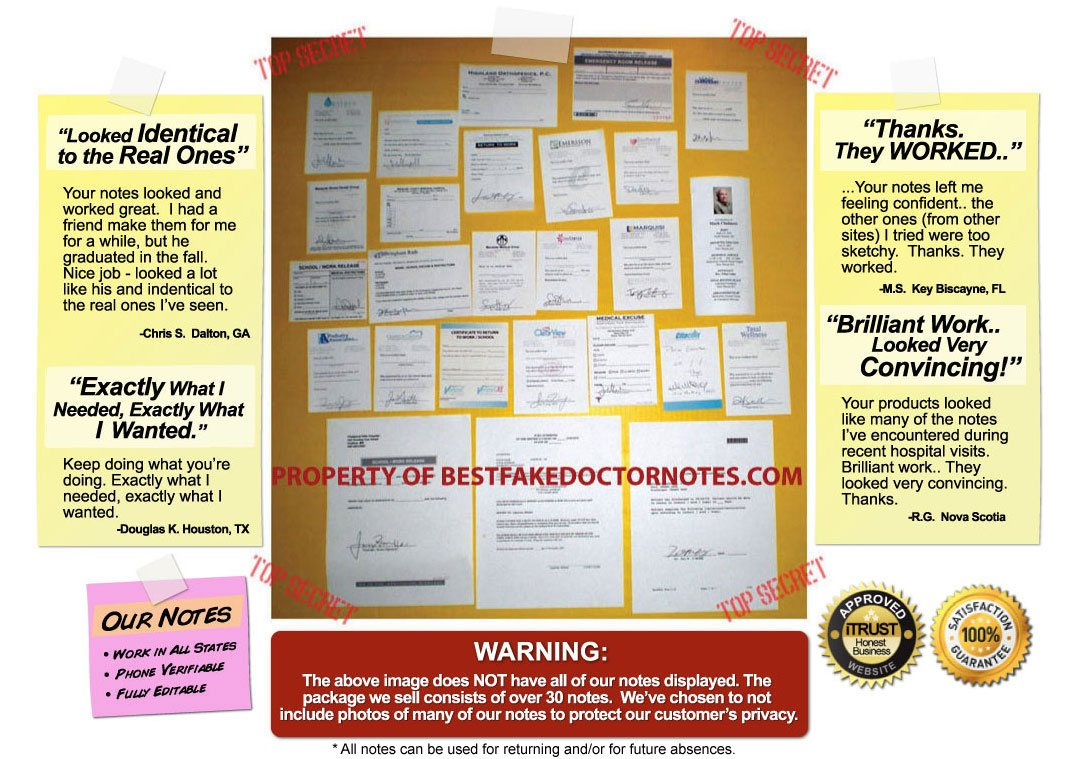 Fake Doctor's Notes & Excuses - The Internet's #1 Resource