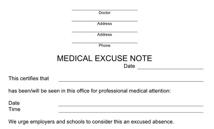Free Excuse Notes for Missing Work or School