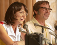 "Emma Stone and Steve Carrel in movie ""Battle of the Sexes"""