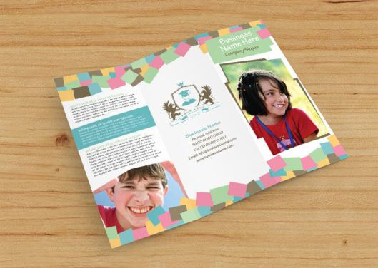 fun-play school tri-fold brochure flat