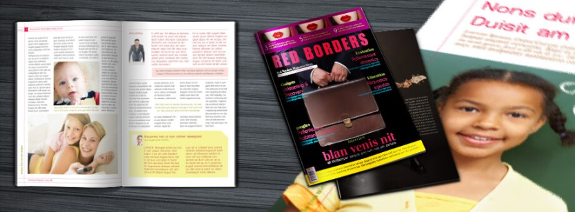 Red Borders Magazine Cover and Inside Preview