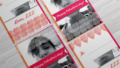 valentines day card flat both