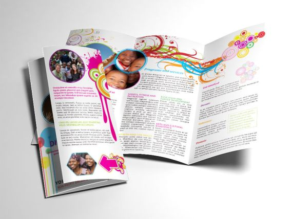 Colorful Non Profit Trifold Brochure Open and Closed Preview