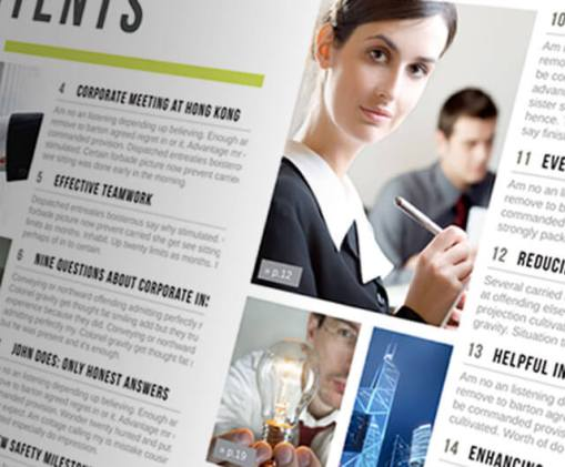 Table of Contents InDesign Template for your Brochure or Magazine