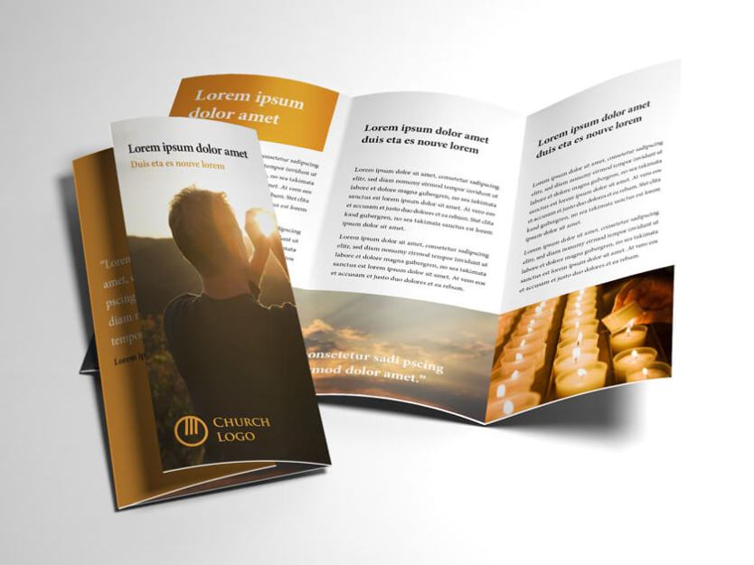 Trifold Church Brochure Open and Closed Preview