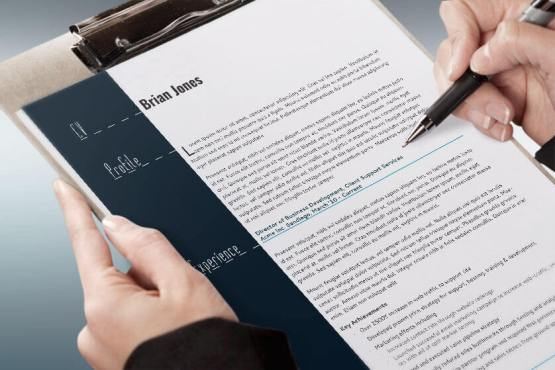 resume and business card clipboard