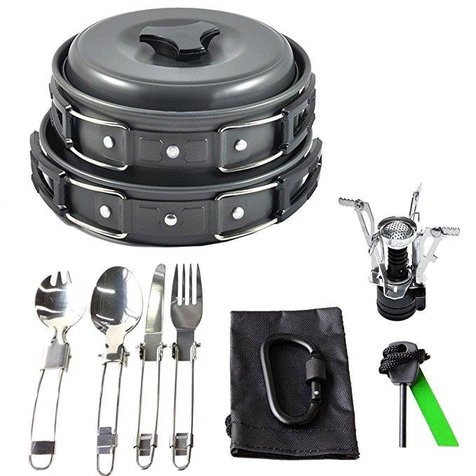 GOLD ARMOUR 17PCS BEST CAMPING COOKWARE