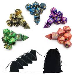 SmartDealsPro 5 x 7-die Double-colors Polyhedral Dice