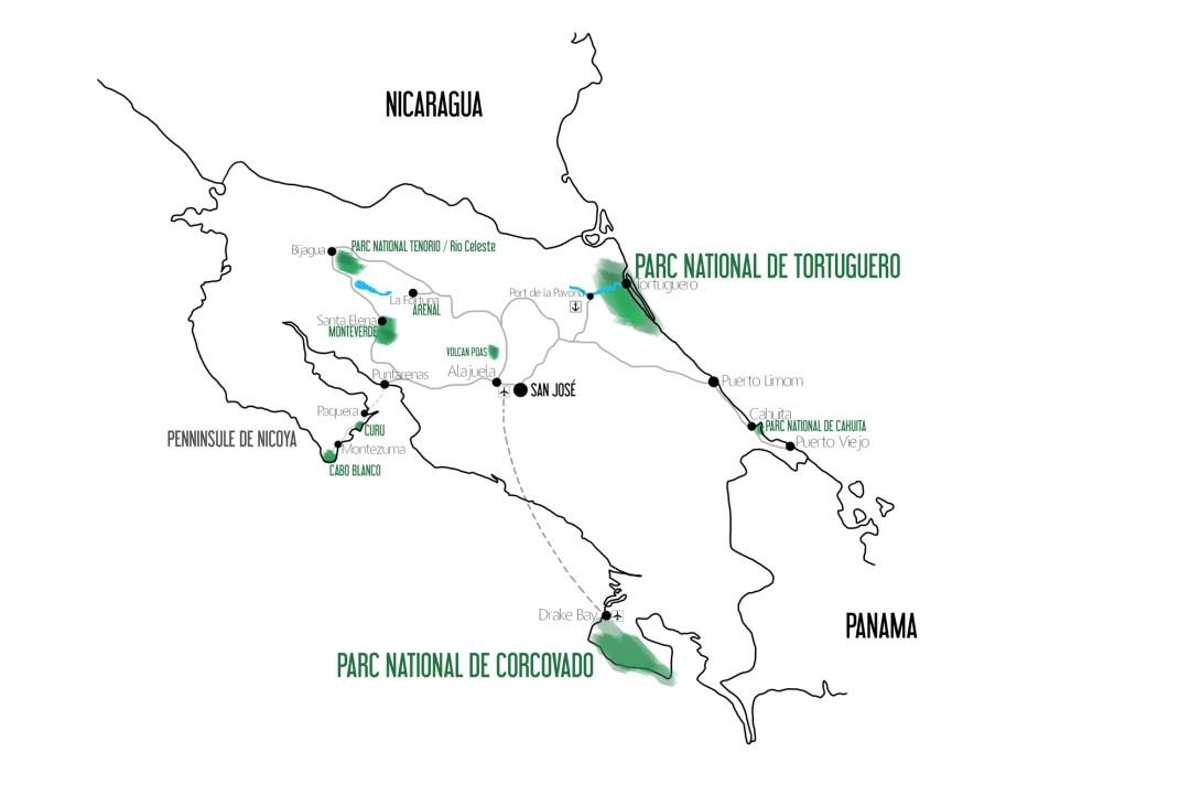 itinéraire costa rica 15 jour carte