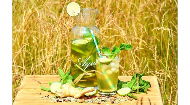 homemade green iced tea