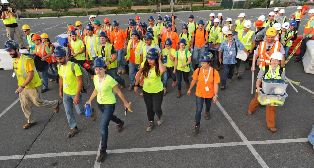An international field of 14 collegiate teams begin a 27-day competition during the U.S. Department of Energy Solar Decathlon at the Orange County Great Park, Irvine, California Monday, Sept. 28, 2015. (Credit: Thomas Kelsey/U.S. Department of Energy Solar Decathlon)