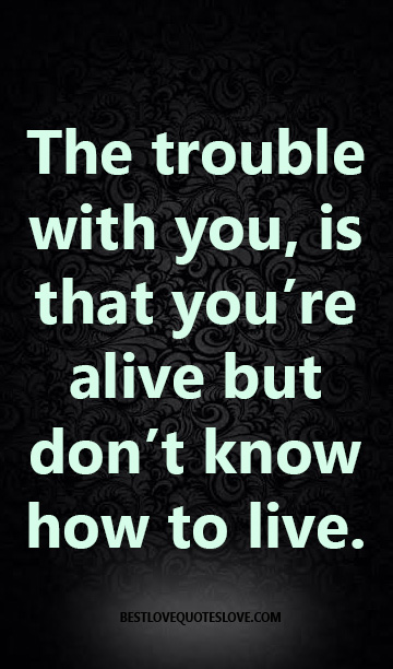 The trouble with you, is that you're alive but don't know how to live.