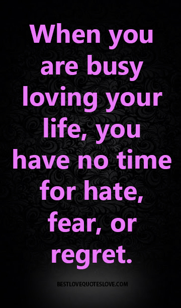 When You Are Busy Loving Your Life You Have No Time For Hate Fear