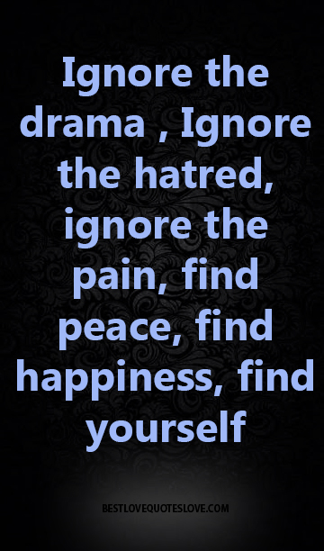 Ignore the drama , Ignore the hatred, ignore the pain, find peace, find happiness, find yourself