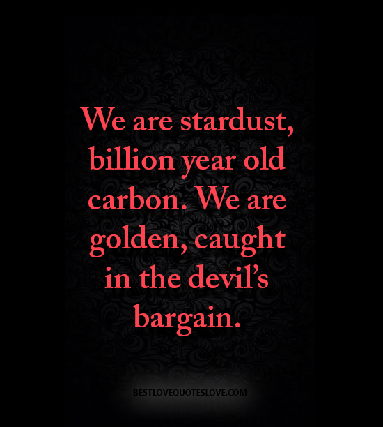 We are stardust, billion year old carbon. We are golden, caught in the devil's bargain.
