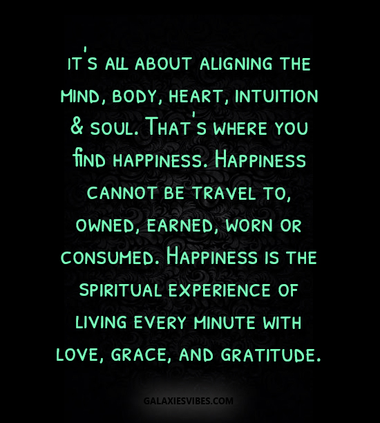 It's all about aligning the mind, body, heart, intuition & soul. That's where you find happiness. Happiness cannot be travel to, owned, earned, worn or consumed. Happiness is the spiritual experience