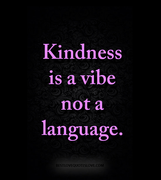 Kindness is a vibe not a language.