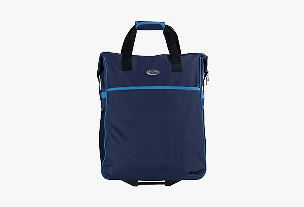 CalPak Big Eazy Bright Check 20-inch Rolling Shopping Tote Bag