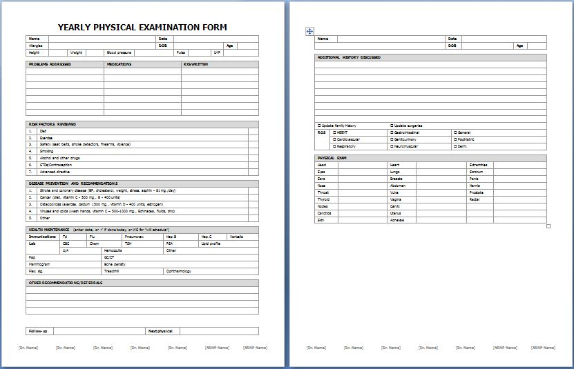 Yearly Physical Examination Forms Printable Medical Forms