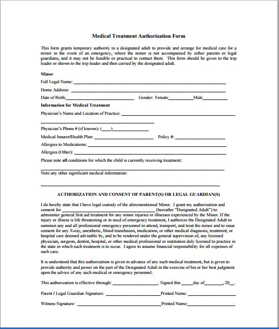 Printable Medical Form. Medical Prior Authorization Form Template