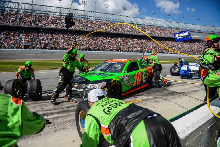News-Journal/LOLA GOMEZ Danica Patrick No. 10 during a pit stop at the Daytona 500 in Daytona Beach on Sunday, February 22, 2015.