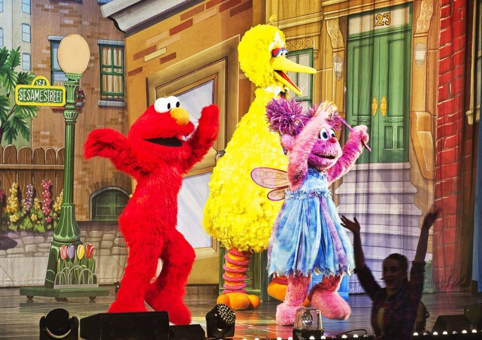 Members of the Sesame Street performance take center stage at the Memorial Hall in Pueblo Colo. on Jan. 4, 2015. (John Jaques.The Pueblo Chieftain)