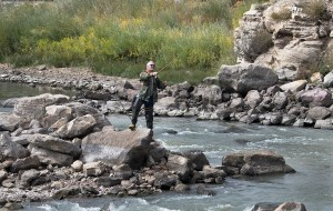 Werner Groezinger trys his luck as he fishes on the Arkansas River in Pueblo Colo. on Oct. 3, 2017. (John Jaques,The Pueblo Chieftain)