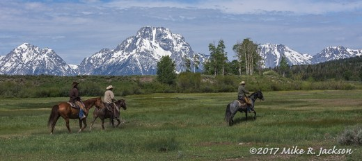 Three Cowboys and Mt. Moran