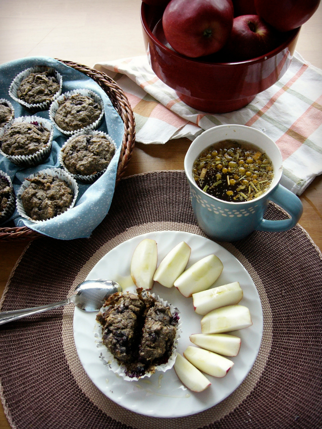 Gluten-Free Blueberry Apple Chocolate Muffins www.bestofthislife.com