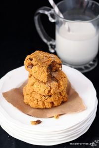 OoeyGooey Pumpkin Chocolate Chip Cookies #glutenfree www.bestofthislife.com