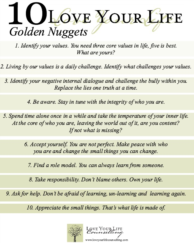 10 Love Your Life Golden Nuggets www.bestofthislife.com