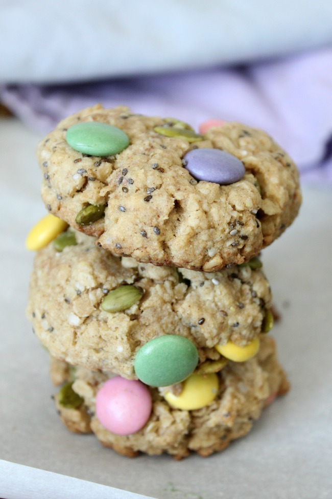 Healthy Easter Monster Cookies made with chia, pumpkin seeds, quinoa flakes, and smarties