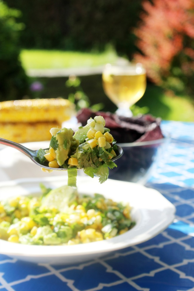 Avocado and Grilled Corn Salsa Spoonful