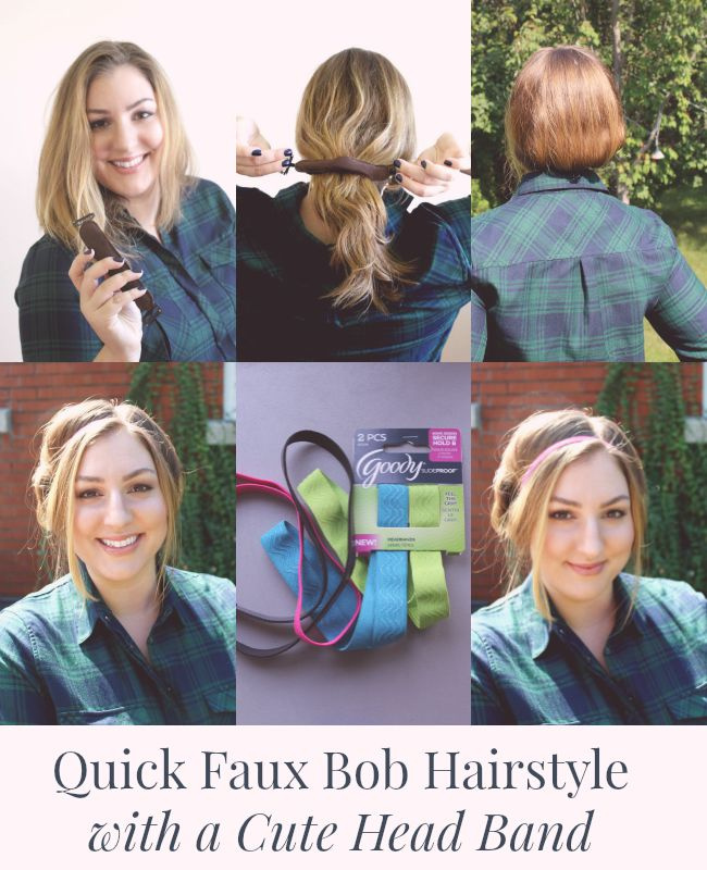 Quick Faux Bob Hairstyle with a Cute Head Band