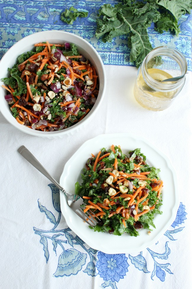 Kale, Carrots, Dates, Red Onion Salad